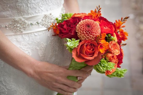 orange green dahlias roses bridal bouquet Celebration Florals