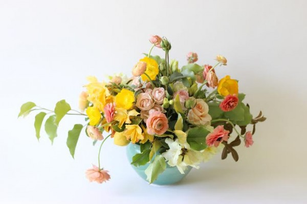 yellow and peach bowl arrangement Flora Organica Designs Chapel Designer