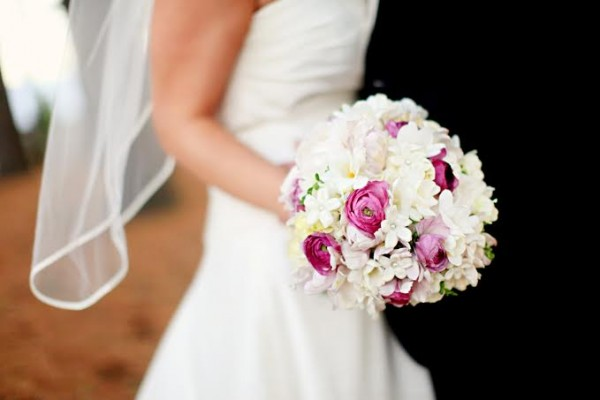 pink ranunculus stephanotis bridal bouquet Sebesta Design