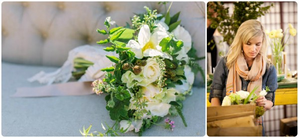 green and whit bridal bouquet Au Courant Chapel Designer