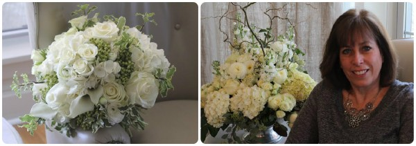 white bouquet roses hydrangea blossoms & branches