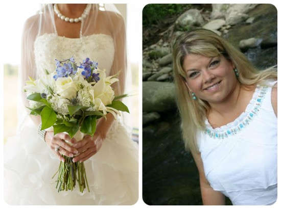 blue and white bridal bouquet of roses and delphinium