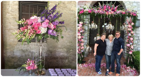 escort table design and floral arch pink and purple roses