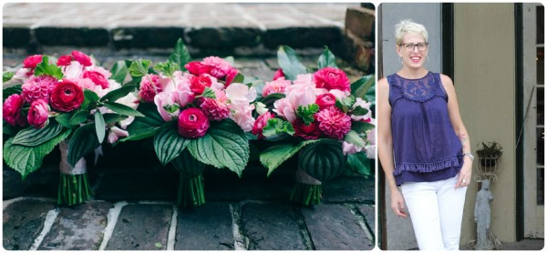 hot pink and green bridesmaid's bouquets ranunculus Kim Starr Wise