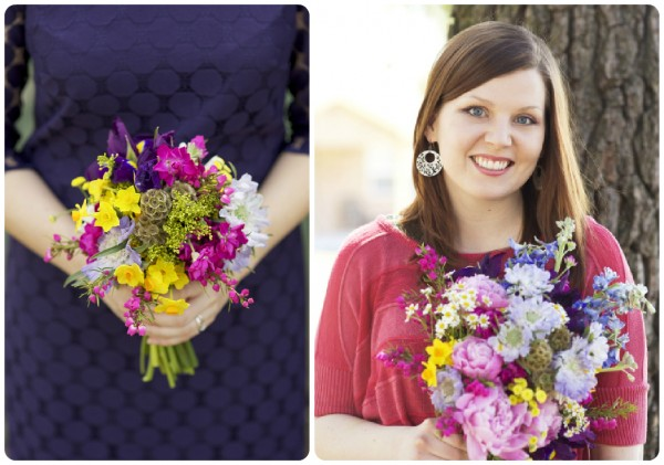 bridesmaid's bouquet purple and yellow Color My World