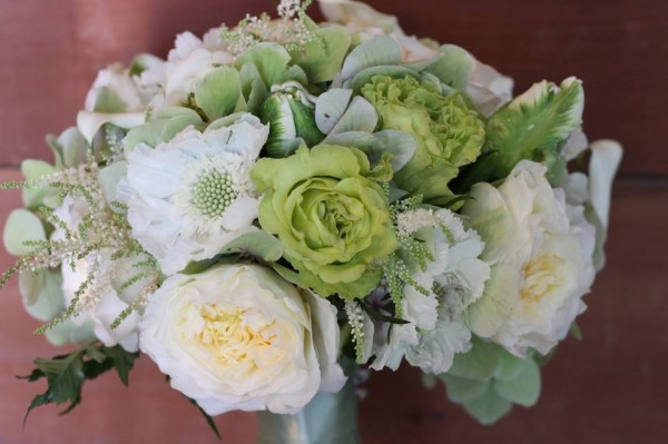 scabiosa roses astilbe green and white bouquet