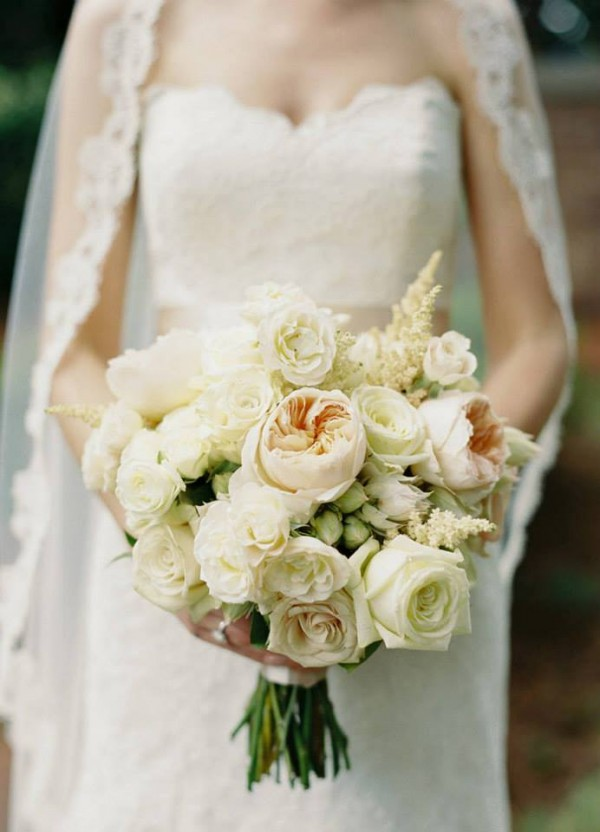 cream monochromatic bouquet astilbe roses blushing bride