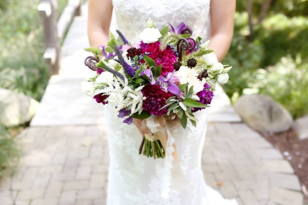 purple raspberry white bouquet astilbe dahlias veronica