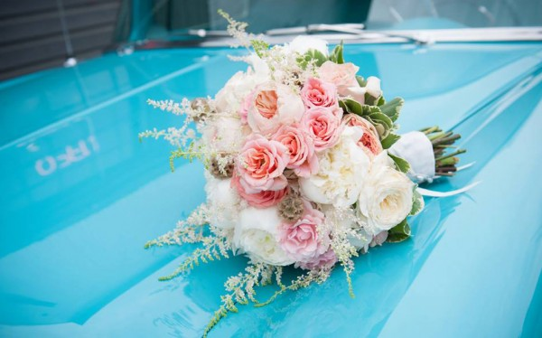 Pink and white bouquet roses peonies astilbe scabiosa pods Park Place Design