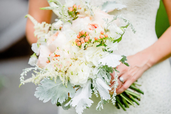 white and peach bouquet dusty miller astilbe garden roses hypericum berries