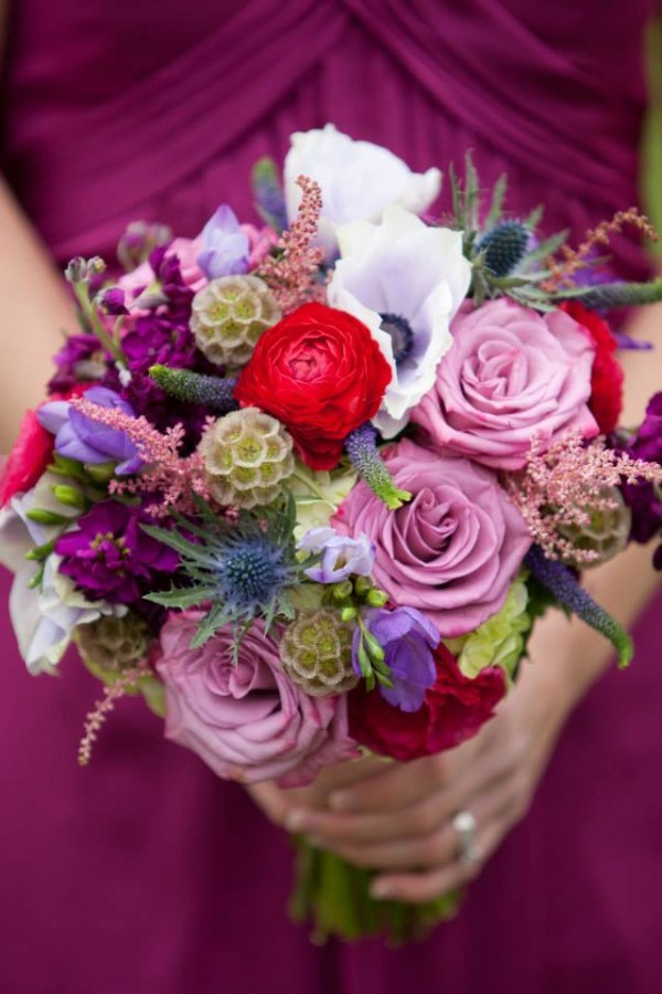 purple red scabiosa pods roses astilbe anemone thistle