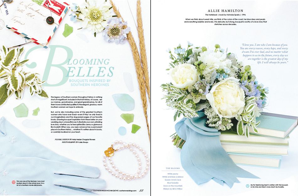 bouquet, blue, peonies, Southern Weddings, Holly Chapple Flowers, white, southern, the notebook
