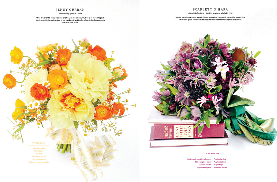 Southern Weddings, Holly Chapple, flowers, florals, Gone With the Wind, orange, bouquet, ribbon, handout, purple, ranunculus